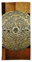 Gold Mayan-aztec Calendar On Brown Leather Hand Towel