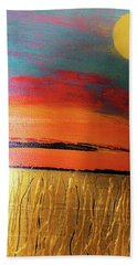 Hand Towel featuring the photograph Gold Moon Reflection by Carolyn Repka