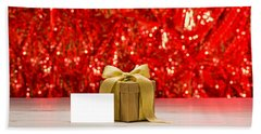 Gold Present With Place Card  Bath Towel by Ulrich Schade