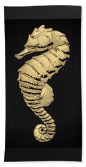 Hand Towel featuring the digital art Gold Seahorse On Black Canvas by Serge Averbukh