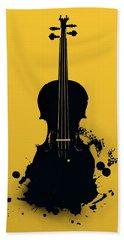 Hand Towel featuring the digital art Gold Violin by Alberto RuiZ