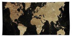 Gold World Map Bath Towel