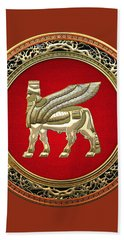 Golden Babylonian Winged Bull  Bath Towel