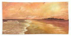Hand Towel featuring the painting Golden Beach by Vanessa Palomino