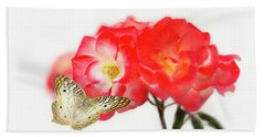 Golden Butterfly On Roses Hand Towel