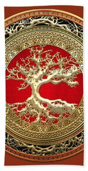 Golden Celtic Tree Of Life  Bath Towel