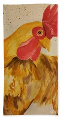 Golden Chicken Bath Towel by Maria Urso