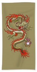 Golden Chinese Dragon Fucanglong On Black Silk Hand Towel