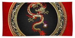 Golden Chinese Dragon Fucanglong On Red Leather  Hand Towel by Serge Averbukh