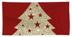 Golden Christmas Tree Hand Towel