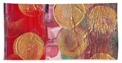 Golden Circles On Red And Green Hand Towel