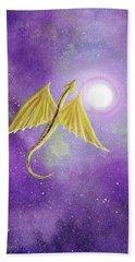 Golden Dragon Soaring In Purple Cosmos Hand Towel