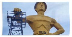 Golden Driller 76 Feet Tall Hand Towel by Janette Boyd