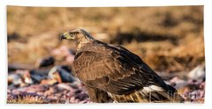 Bath Towel featuring the photograph Golden Eagle's Back by Torbjorn Swenelius