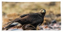 Hand Towel featuring the photograph Golden Eagle's Glance by Torbjorn Swenelius