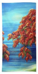 Golden Flame Tree Bath Towel