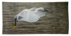 Bath Towel featuring the photograph Golden Flight by Fraida Gutovich