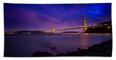 Golden Gate Bridge At Night Hand Towel by Ian Good