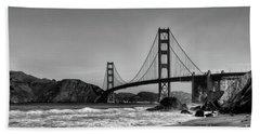 Golden Gate Bridge Black And White Bath Towel
