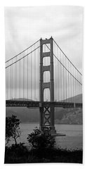 Golden Gate Bridge- Black And White Photography By Linda Woods Hand Towel