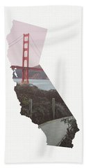 Hand Towel featuring the mixed media Golden Gate Bridge California- Art By Linda Woods by Linda Woods