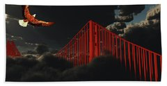 Golden Gate Bridge In Heavy Fog Clouds With Eagle Bath Towel by Bruce Rolff