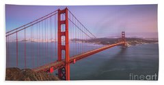 Golden Gate Bridge Twilight Bath Towel by JR Photography