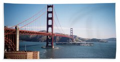 Golden Gate Bridge With Aircraft Carrier Hand Towel