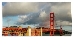 Bath Towel featuring the photograph Golden Gate From Above Ft. Point by Bill Gallagher