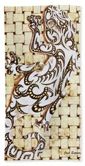 Hand Towel featuring the painting Golden Gecko by J- J- Espinoza