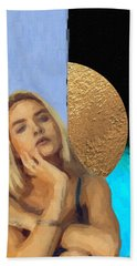 Bath Towel featuring the digital art Golden Girl No. 4  by Serge Averbukh