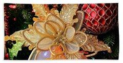 Golden Glitter Christmas Ornaments Hand Towel