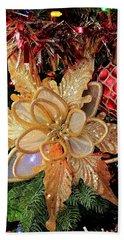 Golden Glitter Christmas Ornaments Bath Towel