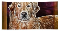 Bath Towel featuring the photograph Golden Glowing Retriever by EricaMaxine  Price