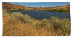 Golden Grasses Along The Snake River Hand Towel