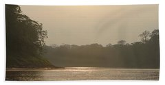 Golden Haze Covering The Amazon River Hand Towel