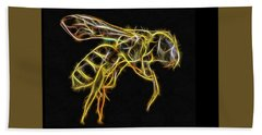 Golden Honey Bee Fractalized Bath Towel