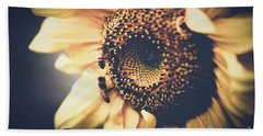 Bath Towel featuring the photograph Golden Honey Bees And Sunflower by Sharon Mau