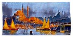 Hand Towel featuring the digital art Golden Horn Of Istanbul by Pennie McCracken