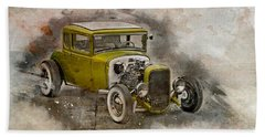 Bath Towel featuring the photograph Golden Hot Rod by Joel Witmeyer