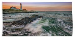 Hand Towel featuring the photograph Golden Hour At Portland Head Light by Rick Berk