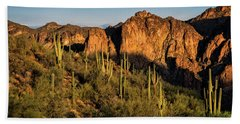 Hand Towel featuring the photograph Golden Hour On Saguaro Hill  by Saija Lehtonen