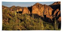 Bath Towel featuring the photograph Golden Hour On Saguaro Hill  by Saija Lehtonen