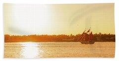 Golden Hour Sailing Ship Hand Towel