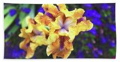 Golden Iris With Blue Hand Towel