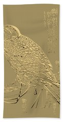 Golden Japanese Peregrine Falcon On Black Canvas  Bath Towel