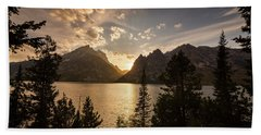 Hand Towel featuring the photograph Golden Jenny Lake View by James BO Insogna
