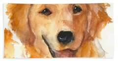 Golden Retriever Watercolor Painting By Kmcelwaine Bath Towel