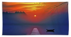 Bath Towel featuring the painting Golden Lake by Harry Warrick