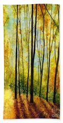 Bath Towel featuring the painting Golden Light by Hailey E Herrera